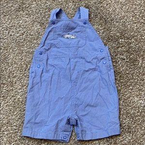 Carters small checked shark embroidered overalls